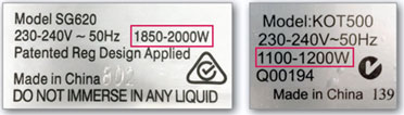 label showing watts of a device